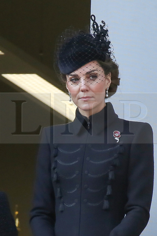 © Licensed to London News Pictures. 10/11/2019. London, UK.Catherine, Duchess of Cambridge attend the Remembrance Sunday ceremony at the Cenotaph memorial in Whitehall, central London. Remembrance Sunday is held each year to commemorate the service men and women who fought in past military conflicts. Photo credit: Dinendra Haria/LNP