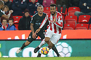 Maxim Choupo-Moting chided by Gabriel Jesus during the Premier League match between Stoke City and Manchester City at the Bet365 Stadium, Stoke-on-Trent, England on 12 March 2018. Picture by Graham Holt.