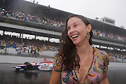 Ashley Judd celebrates her husband Dario Franchitti's victory in the Indy 500 race on May 27, 2007 in Speedway, Indiana. Photo by Michael Hickey