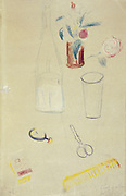 Bottle, vase flowers, glass, pair of scissors.  Guillaume Apollinaire (Apollinaris Kostrowitsky 1880-1919) French poet. Crayon drawing.