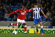Bristol City striker Jonathan Kodjia  shields the ball from Brighton defender Uwe Huenemeier during the Sky Bet Championship match between Brighton and Hove Albion and Bristol City at the American Express Community Stadium, Brighton and Hove, England on 20 October 2015. Photo by Bennett Dean.