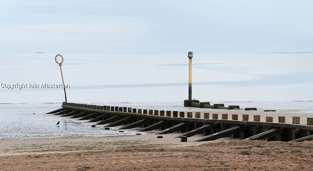 Groynes on the beach at Portobello in Edinburgh, Scotland UK