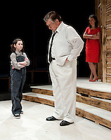 """Scout (Jaydie Becket Halperin) and her father Atticus Finch (Steven Raymond) with narrator Jean Louise Finch (Scout grown up played by Tamara McGonagle) during final dress rehearsal for """"To Kill a Mockingbird"""" at the Winnipesaukee Playhouse Wednesday evening.  (Karen Bobotas/for the Laconia Daily Sun)"""