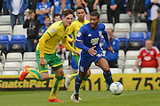 Birmingham City midfielder David Davis (26) on the attack tracked by Norwich City forward Kyle Lafferty (19) 2-0 during the EFL Sky Bet Championship match between Birmingham City and Norwich City at St Andrews, Birmingham, England on 27 August 2016. Photo by Alan Franklin.