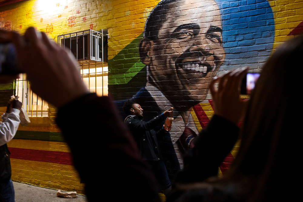 Revelers celebrate the re-election of President Barack Obama outside of Ben's Chili Bowl on U Street in Washington D.C. on Nov. 6, 2012.