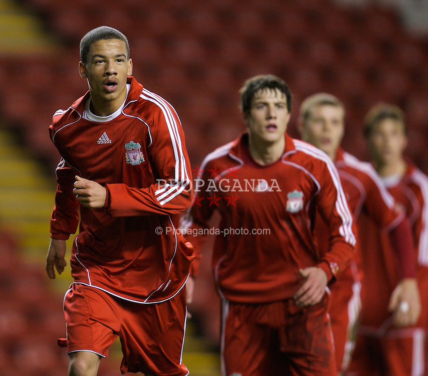 LIVERPOOL, ENGLAND - Tuesday, January 29, 2008: Liverpool's Nathan Eccleston and Martin Kelly in action against Arsenal during the FA Youth Cup 4th Round match at Anfield. (Photo by David Rawcliffe/Propaganda)
