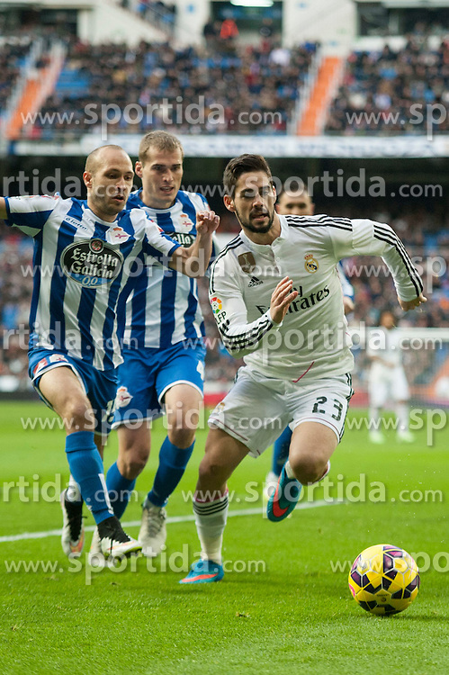 14.02.2015, Estadio Santiago Bernabeu, Madrid, ESP, Primera Division, Real Madrid vs Deportivo La Coruna, 23. Runde, im Bild Real Madrid&acute;s Isco and Deportivo de la Coruna's Alex Bergantinos and Laureano Sanabria Ruiz // during the Spanish Primera Division 23rd round match between Real Madrid vs Deportivo La Coruna at the Estadio Santiago Bernabeu in Madrid, Spain on 2015/02/14. EXPA Pictures &copy; 2015, PhotoCredit: EXPA/ Alterphotos/ Luis Fernandez<br /> <br /> *****ATTENTION - OUT of ESP, SUI*****