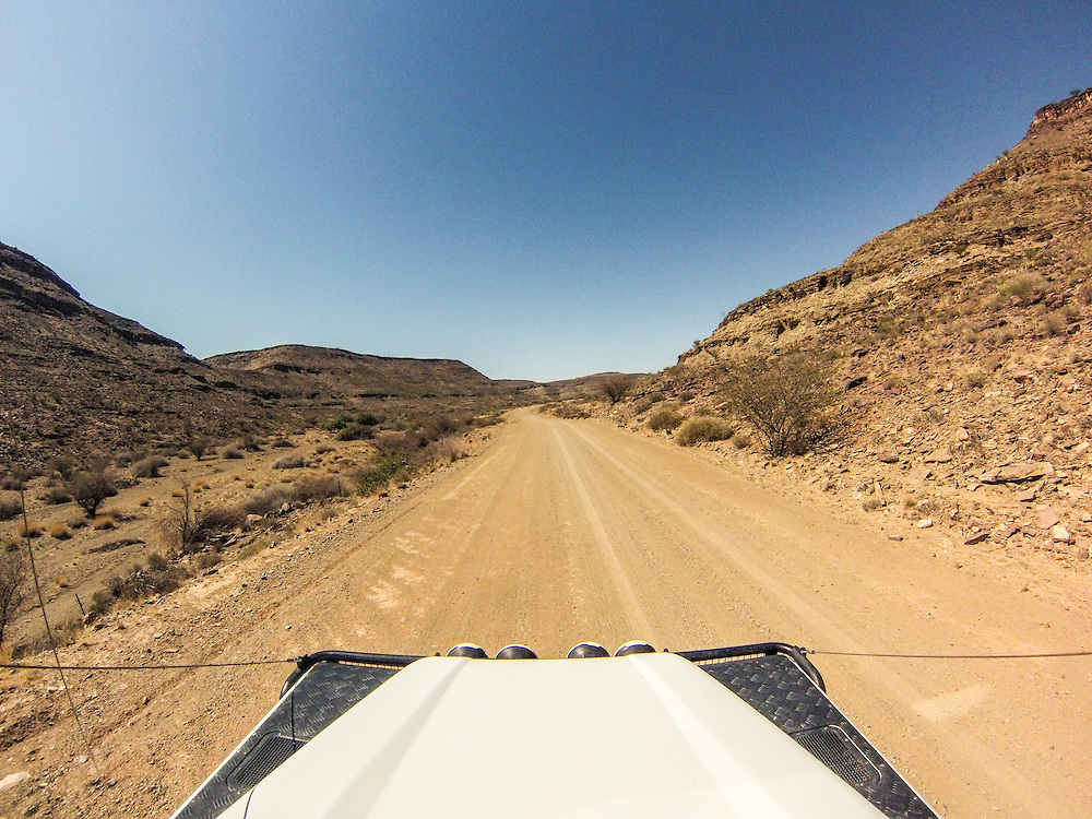 South Africa - Land Rover driving down dirt road