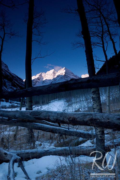 Maroon Bells and Aspen Trees, Maroon / Snowmass Wilderness, Colorado