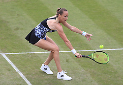Magdalena Rybarikova in action against Barbara Strycova during their semi final match on day six of the Nature Valley Classic at Edgbaston Priory, Birmingham.