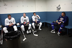 Anze Terlikar, Andrej Tavzelj, Tomi Hafner and Damjan Dervaric in wardrobe after  practice of Slovenian national team at Hockey IIHF WC 2008 in Halifax,  on May 01, 2008 in Forum Centre, Halifax, Canada.  (Photo by Vid Ponikvar / Sportal Images)