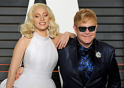 Lady Gaga, Elton John arrives at the 2016 Vanity Fair Oscar Party Hosted By Graydon Carter at Wallis Annenberg Center for the Performing Arts on February 28, 2016 in Beverly Hills, California. EXPA Pictures © 2016, PhotoCredit: EXPA/ Photoshot/ Dennis Van Tine<br />