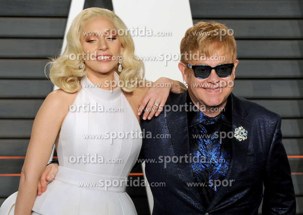Lady Gaga, Elton John arrives at the 2016 Vanity Fair Oscar Party Hosted By Graydon Carter at Wallis Annenberg Center for the Performing Arts on February 28, 2016 in Beverly Hills, California. EXPA Pictures © 2016, PhotoCredit: EXPA/ Photoshot/ Dennis Van Tine<br /><br />*****ATTENTION - for AUT, SLO, CRO, SRB, BIH, MAZ only*****