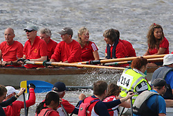 "© Licensed to London News Pictures. 12/09/2015. Television newsreader and personality Sophie Raeworth was seen on board the ""skerry"" St Helena in the Great River Race. Hundreds of traditional craft have taken to the Thames for the annual Great River Race. The 21 mile rowing race fom Millwall to Richmond is known as London's river marathon. Credit : Rob Powell/LNP"