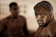 Portrait of a Kushti wrestler taking a break from his practice