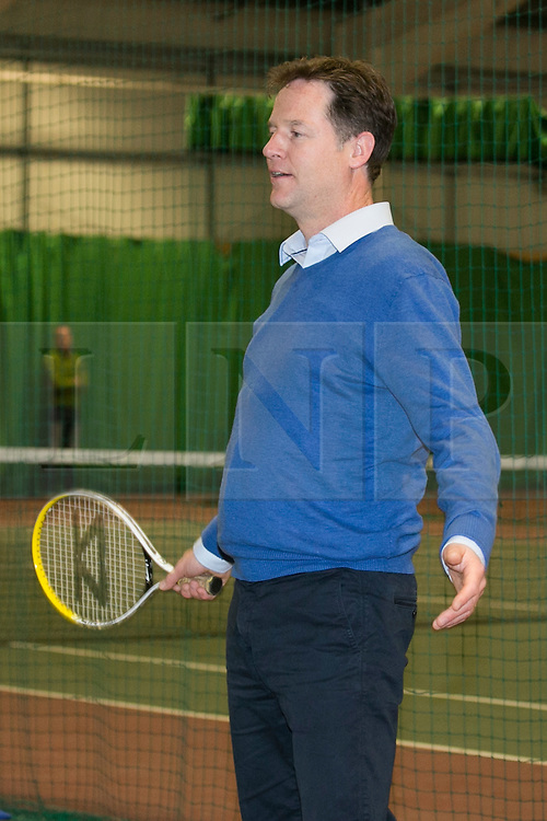 © Licensed to London News Pictures. 05/05/2015. Solihull, Warwickshire, UK. Deputy Prime Minister Nick Clegg visiting Tudor Grange Leisure Centre, Blossomfield Road, Solihull. Pictured, Nick and Miriam Clegg played each other in a friendly match paired with youngsters from the indoor tennis club. Photo credit : Dave Warren/LNP
