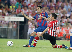 25.05.2012, Vicente Calderon Stadion, Madrid, ESP, Kings Cup Finale, FC Barcelona vs Athletic Bilbao, im Bild Athletic de Bilbao's Javier Martinez against Barcelona's Sergio Busquets // during the Spanish Kings Cup final match between Fc Barcelona and Athletic Bilbao at the Vicente Calderon Stadium, Madrid, Spain on 2012/05/25. EXPA Pictures © 2012, PhotoCredit: EXPA/ Alterphotos/ Alvaro Hernandez..***** ATTENTION - OUT OF ESP and SUI *****