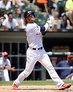 CHICAGO - JULY 02:  Kevan Smith #36 of the Chicago White Sox bats against the Texas Rangers on July 2, 2017 at Guaranteed Rate Field in Chicago, Illinois.  The White Sox defeated the Rangers 6-5.  (Photo by Ron Vesely) Subject:   Kevan Smith