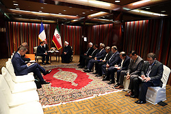 France's President Emmanuel Macron (L) meets with his Iranian counterpart Hassan Rouhani during their meeting at the Millennium Hotel near the United Nations on September 18, 2017, in New York City, NY, USA. Photo by Parspix/ABACAPRESS.COM