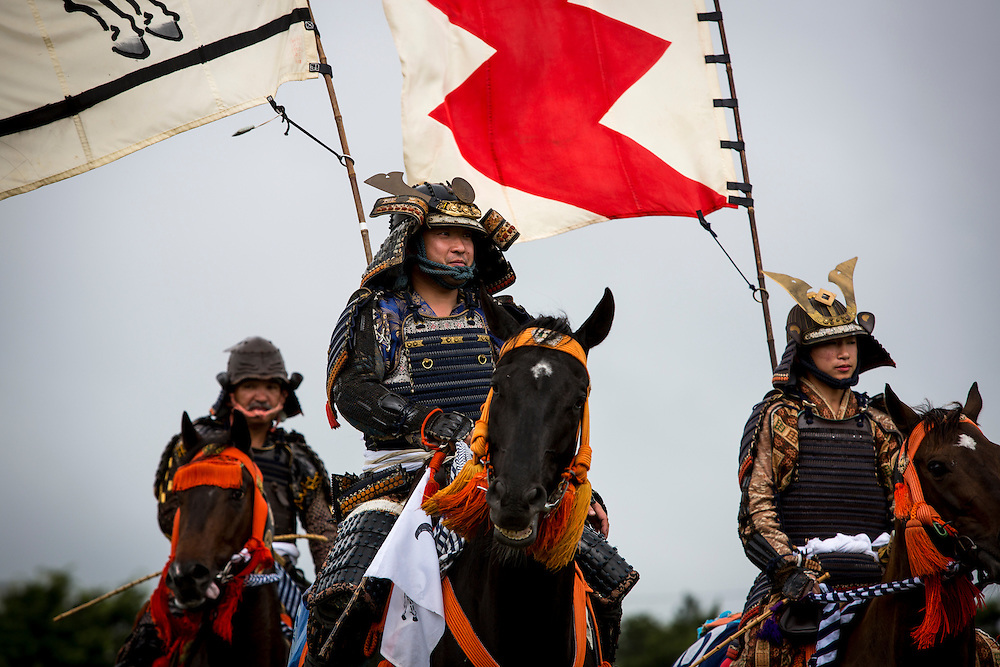 "MINAMISOMA, JAPAN - JULY 24 : A samurai horsemen seen parade during the Soma Nomaoi festival at Hibarigahara field on Sunday, July 24, 2016 in Minamisoma, Japan. ""Soma-Nomaoi"" is a traditional festival that recreates a samurai battle scene from more than 1,000 years ago.  (Photo: Richard Atrero de Guzman/NURPhoto)"