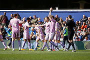 Reading striker Deniss Rakels (10) celebrates his goal with his team during the Sky Bet Championship match between Queens Park Rangers and Reading at the Loftus Road Stadium, London, England on 23 April 2016. Photo by Andy Walter.