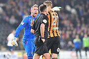 Hull City goalkeeper Allan McGregor (1) takes issue with the ref during the EFL Sky Bet Championship match between Hull City and Preston North End at the KCOM Stadium, Kingston upon Hull, England on 26 September 2017. Photo by Ian Lyall.
