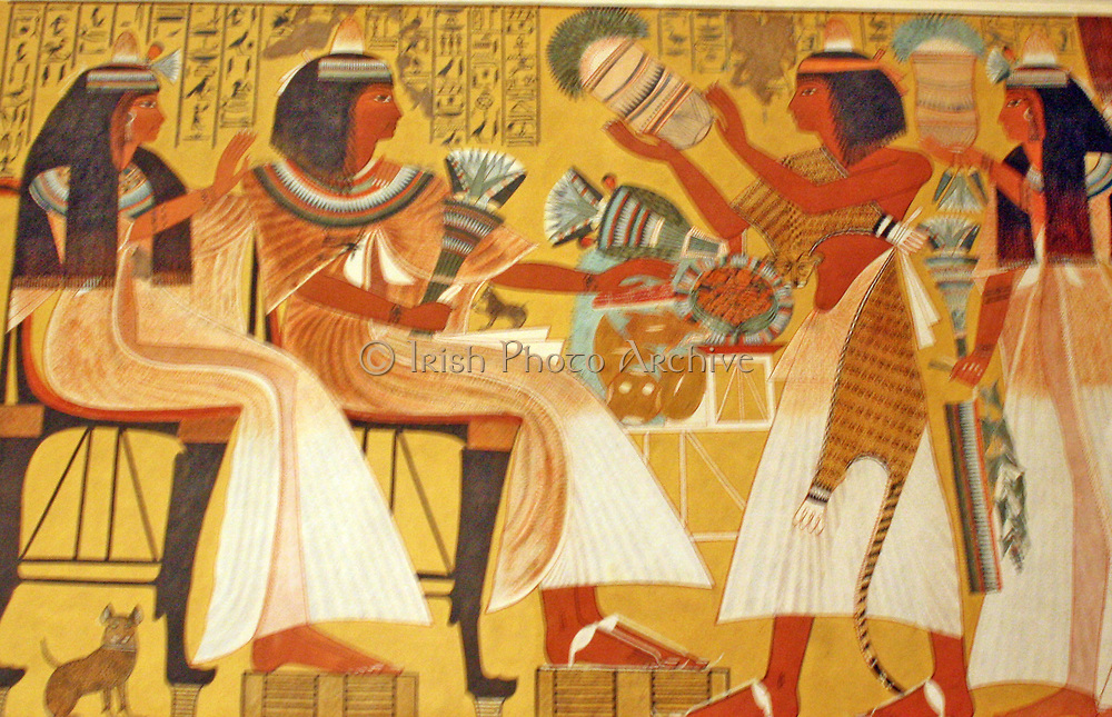Egyptian wall paintings from The New Kingdom, facsimies of ancient Egyptian wall decoration.  They are accurate copies of original scenes, exact in line and colour and, with a few exceptions, at a scale of 1;1