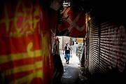 Hong Kong, China - Man in the street on Wan Chai district in Hong Kong on May 02, 2018.