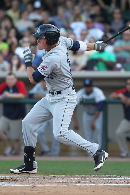 Lake County Captains outfielder Jordan Smith #39 bats during a game against the Dayton Dragons at Fifth Third Field on June 25, 2012 in Dayton, Ohio. Lake County defeated Dayton 8-3. (Brace Hemmelgarn)