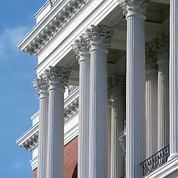 Detail of the central colonnade of the Massachusetts State House on Beacon Hill. Built in 1798, designed by Architect Charles Bullfinch. Boston MA USA