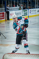 KELOWNA, CANADA - DECEMBER 30: Kole Lind #16 of the Kelowna Rockets warms up with a shot on net against the Victoria Royals on December 30, 2017 at Prospera Place in Kelowna, British Columbia, Canada.  (Photo by Marissa Baecker/Shoot the Breeze)  *** Local Caption ***