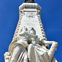 Centennial Monument in Nice, France <br /> In 1792, the First French Army captured the County of Nice, making it part of France.  In recognition of this annexation, this Centennial Monument by sculptor André-Joseph Allar was erected 100 years later in the Albert Garden.  The bronze winged Victory signifies loyalty and the marble statues below of a girl hugging a woman represent allegiance to France.