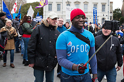 London, UK. 29th January, 2019. Pro-Brexit protesters pursue Femi Oluwole, spokesperson of Our Future Our Choice, outside Parliament on the day of votes in the House of Commons on amendments to the Prime Minister's final Brexit withdrawal agreement which could determine the content of the next stage of negotiations with the European Union.