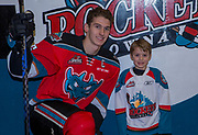 KELOWNA, CANADA - NOVEMBER 17:  Pepsi Player of the Game with Cal Foote #25 of the Kelowna Rockets at the Kelowna Rockets game on November 17, 2017 at Prospera Place in Kelowna, British Columbia, Canada.  (Photo By Cindy Rogers/Nyasa Photography,  *** Local Caption ***