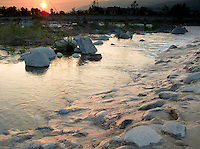 Sunset over San Gabriel River, Irwindale, California