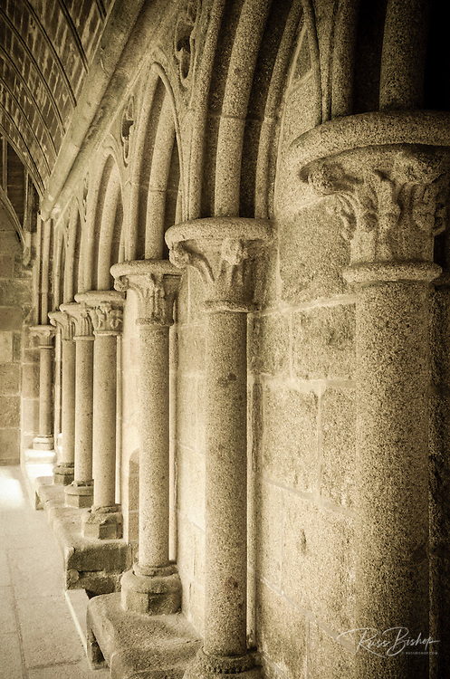 Column detail in the abbey cloister, Mont Saint-Michel, Normandy, France