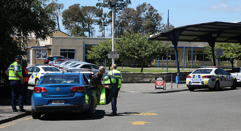Western Heights High School is in lockdown and nobody is being allowed in or out of the school. Police are currently at the School, Rotorua, New Zealand, Thursday, February 25, 2016. Credit:SNPA / Peter Graney.