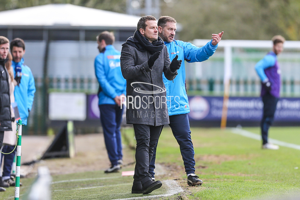 Forest Green Rovers manager, Mark Cooper and Forest Green Rovers assistant manager, Scott Lindsey during the Vanarama National League match between Forest Green Rovers and Lincoln City at the New Lawn, Forest Green, United Kingdom on 19 November 2016. Photo by Shane Healey.