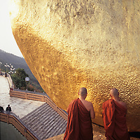 Kyaiktiyo Pagoda, Golden Rock, Monks making offering of Gold