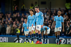 December 8, 2018 - London, Greater London, England - Manchester City players look dejected after the opening goal scored by Ngolo Kanté of Chelsea during the Premier League match between Chelsea and Manchester City at Stamford Bridge, London, England on 8 December 2018. (Credit Image: © AFP7 via ZUMA Wire)