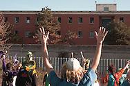 Roma 31 Dicembre 2011.Manifestazione contro il carcere a Rebibbia.Il corteo musicale davanti al carcere di Rebibbia, i detenuti salutano il corteo .Rome, December 31, 2011.Demonstration against the prison of Rebibbia.The parade music in front of the prison in Rebibbia. The prisoners greet the demonstration