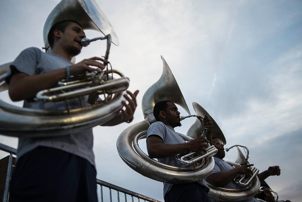 WASHINGTON,DC - October 6, 2017: Tuba players during practice. From left: Franklin Blankenship, Oweikimi Sofiyea (cq), and section leader Cameron Franklin.<br /> Howard University's Showtime Marching Band is part of a long tradition of outstanding bands at HBCU's. The band practices in the days leading up to a home game against North Carolina Central. (Andr&eacute; Chung for The Undefeated)