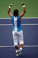 17 March 2007: Rafael Nadal (ESP) defeats Andy Roddick (USA) in two matches 6-4, 6-3 on the main court at the 2007 Pacific Life Open Tennis Tournament in Indian Wells, CA.  The on court temperature was 101.8', they played infront of a sold out crowd in the desert. Nadal reacts to winning the match.