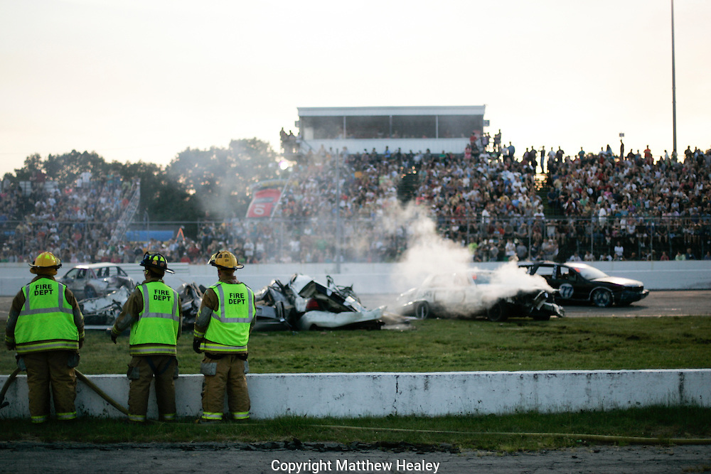 Demolition Derby photos from the Seekonk Speedway and Thompson Speedway featuring cars, monster trucks, jet cars, fans, and fun.  Photo by Matthew Healey