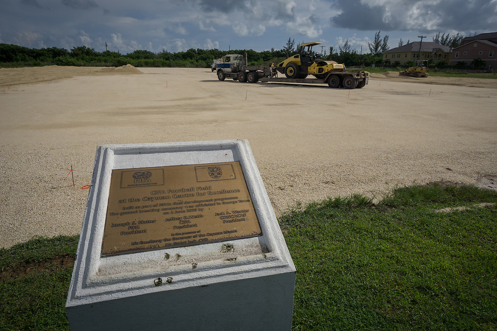 MAY 29, 2015---GRAND CAYMAN, CAYMAN ISLANDS----<br /> Field preparation work in part of the lot where the CIFA (Cayman Islands Football Association) has been expected to build facilities since 2009. This project started about one month ago. The former President of the CIFA, Jeffrey Webb, was arrested in Zurich for alleged corruption. Webb was President of CIFA and CONCACAF and is Vice PResident of FIFA. <br /> (Photo by Angel Valentin/Freelance)