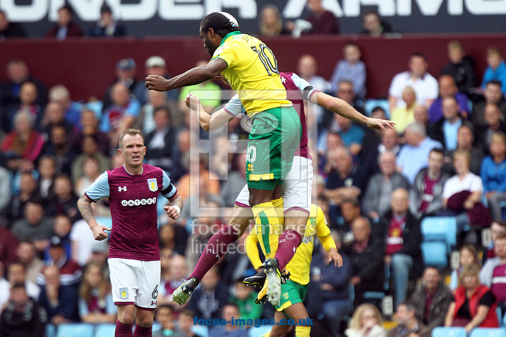Cameron Jerome of Norwich wins a header during the Sky Bet Championship match at Villa Park, Birmingham<br /> Picture by Paul Chesterton/Focus Images Ltd +44 7904 640267<br /> 19/08/2017