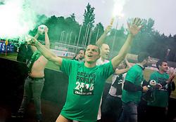 Darijan Matic #8 of NK Olimpija Ljubljana celebrates after winning during football match between NK Rudar and NK Olimpija Ljubljana in Round #35 of Prva liga Telekom Slovenije 2015/16, on May 14, 2016, in Stadium Ob jezeru, Velenje, Slovenia. NK Olimpija with this victory became Slovenian National Champion 2016. Photo by Vid Ponikvar / Sportida