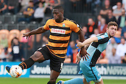 Barnet player John Akinde and Wycombe Wanderers player Dan Rowe during the Sky Bet League 2 match between Barnet and Wycombe Wanderers at The Hive Stadium, London, England on 15 August 2015. Photo by Bennett Dean.