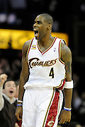 Apr 27, 2010; Cleveland, OH, USA; Cleveland Cavaliers forward Antawn Jamison (4) reacts to a Cleveland basket during the fourth period in game five against the Chicago Bulls in the first round of the 2010 NBA playoffs at Quicken Loans Arena. The Cavaliers won, 96-94. Mandatory Credit: Jason Miller-US PRESSWIRE