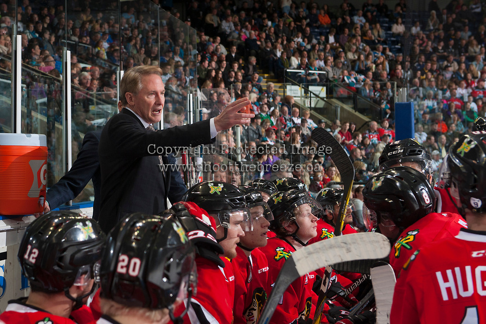 KELOWNA, CANADA - APRIL 14: Portland Winterhawks' head coach, Mike Johnston stands on the bench against the Kelowna Rocketson April 14, 2017 at Prospera Place in Kelowna, British Columbia, Canada.  (Photo by Marissa Baecker/Shoot the Breeze)  *** Local Caption ***